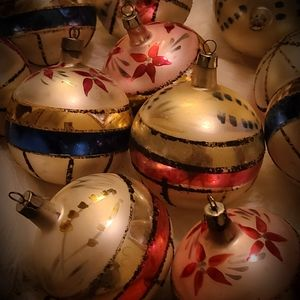 Vintage 11 glass painted Christmas Ornaments